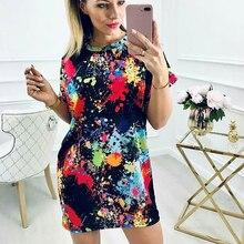 купить Summer Dress Casual Short Sleeve O Neck Graffiti Print Dress Women Streetwear Women Vintage Slim Fit Beach Dress vestidos H30 по цене 676.71 рублей