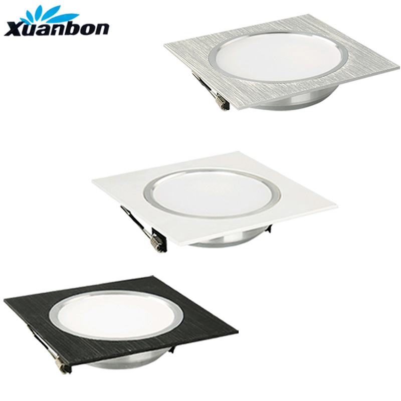 LED Downlight 3W 5W 7W 9W 12W AC110V 220V Square Silver White Black LED Ceiling Lamp for Kitchen/Home/Office Indoor Lighting(China)