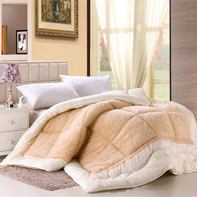 Camelhair Warm Winter Wool Quilt Luxury Thicken Sching Comforter Duvet Blanket Filling King Queen