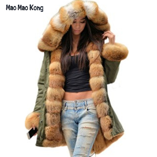 bf591a3275d7 Brand American Military Camouflage Army Parka Long Women Military Coat with  Thick Real Saga Fox Fur
