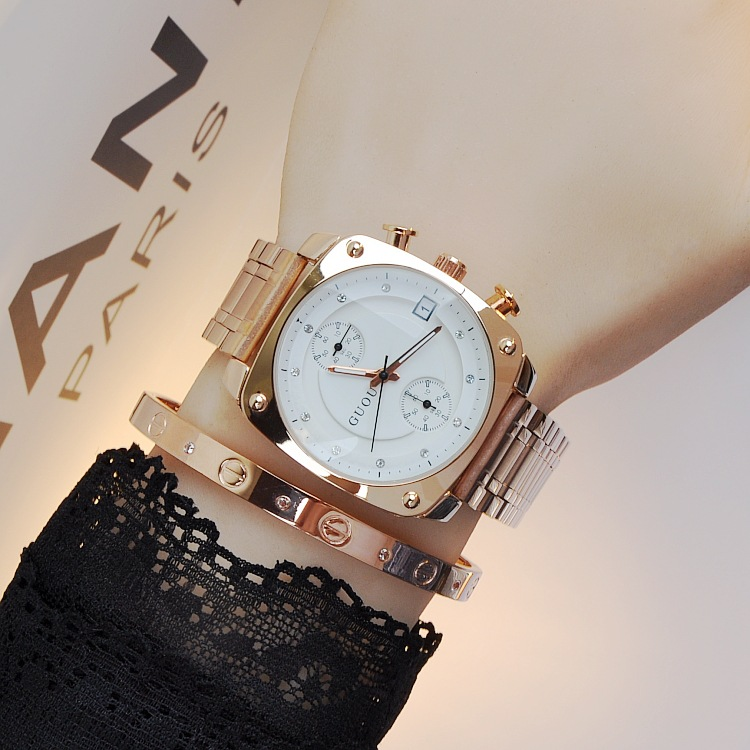 2016 Style Fashion Brand Clock Ladies Full Luxury Gold Steel Strap Square Dial Quartz Woman Calendar Dress Watches Relojes Mujer