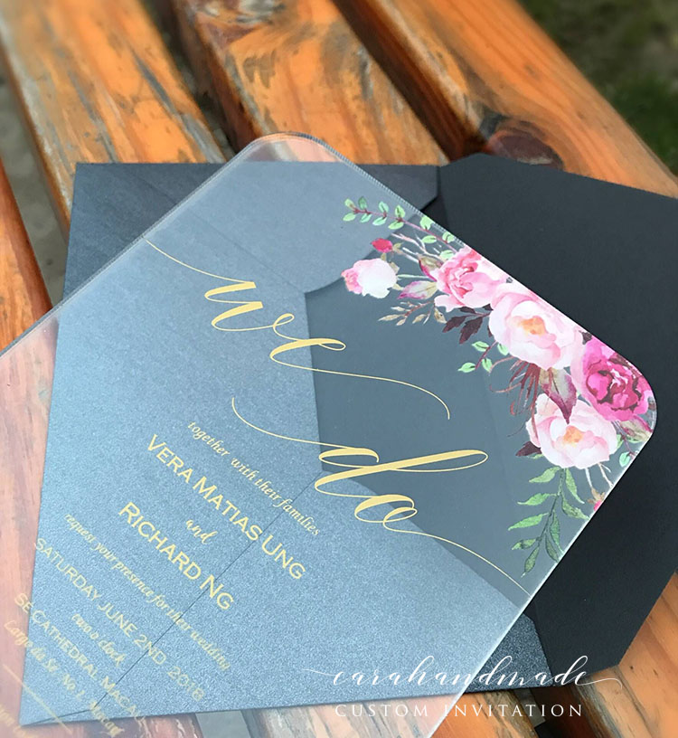 Customized Clear Acrylic Floral wedding invitation Cards with Gold Printing