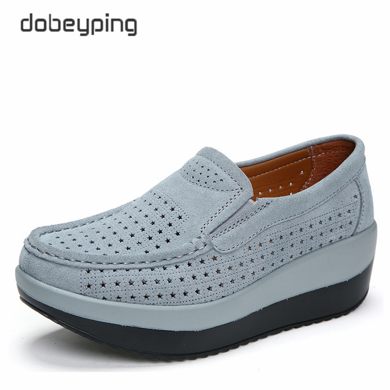 2018 Spring Summer Hole Shoes Woman Cow Suede Leather Flat Platform Women Shoes Slip On Women's Loafers Thick Soled Female Shoe golden sequins shoes female loafer girl s fashion platform shoes women neon boat shoes woman flat low shoes autumn spring summer