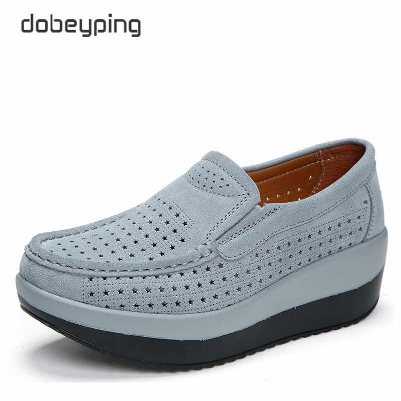 2018 bahar yaz delik ayakkabı kadın inek süet deri düz platformu kadın ayakkabı üzerinde kayma kadın mokasen kalın tabanlı kadın ayakkabı