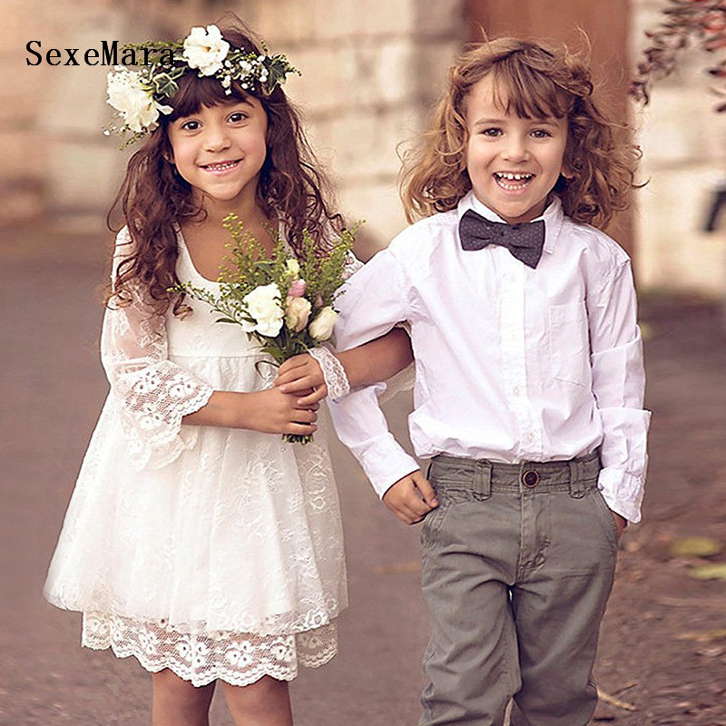 Ivory Lace   Girls     Dress   Long Sleeve Knee Length   Flower     Girl     Dress   for Wedding Kids Pageant Birthday Gown formal wear size 2-14Y