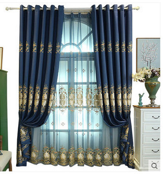 High - quality European - style embroidery velvet linen curtain fabric floating window floor to ceiling windows bedroom bedroom