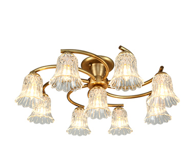 Japanese Exquisite H65 Copper Ceiling Lights + glass flower Lamp shade LED Lamparas De Techo showcase home art lights & Lighting