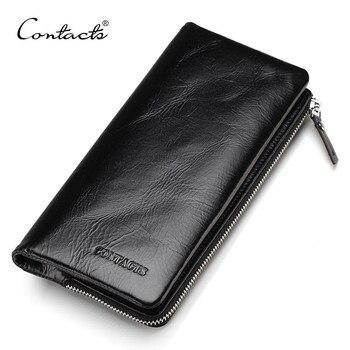 0588e1365 CONTACT'S 2018 clásico carteras de cuero genuino estilo Vintage de los  hombres de moda marca monedero tarjeta titular larga Cartera de embrague