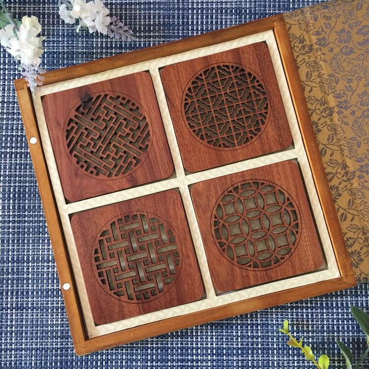 4 pièces en bois tasse tapis coussin luxe café tasse tapis hôtel salle à manger salon décoration créative rouge bois cadeau