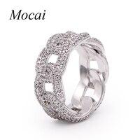 Mocai Gothic Punk Silver Chian Ring For Women Luxury AAA Cubic Zircon Steampunk Finger Jewelry 0