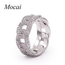 Mocai Gothic Punk Silver Chian Ring for Women Luxury AAA Cubic Zircon Steampunk Finger Jewelry 0.9cm Width ZK20