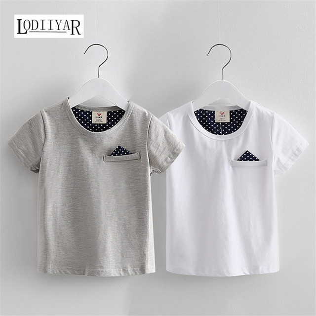 Kids Boys Clothing, Casual Korean Short Sleeve Solid Polka Dot T-shirt Boys Clothes, O-neck Top Tees Summer Outerwear Kids Tees