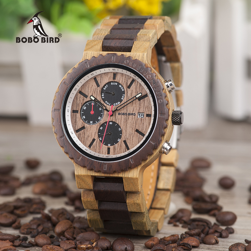 Week Display BOBO BIRD Men Watch Top Stylish Wood Chronograph Timepieces Quartz Watches relogio masculino In Wood Gift Box L-R21Week Display BOBO BIRD Men Watch Top Stylish Wood Chronograph Timepieces Quartz Watches relogio masculino In Wood Gift Box L-R21