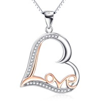 GNX9977 100 Real Pure 925 Sterling Silver Necklace Crystal Love Heart Pendant Charming Jewelry For Women