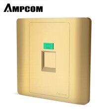 цена на AMPCOM Faceplate Wallplate Face plate 1-Port 2-Port Networking Telephone Socket Outlet Mount Panel RJ45 RJ12 RJ11-Gold