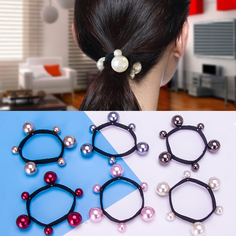 Hot Sale Women Fashion Gift Hair Accessories Elastic Hair Bands Pearl Rubber Band Simple Hair Ropes