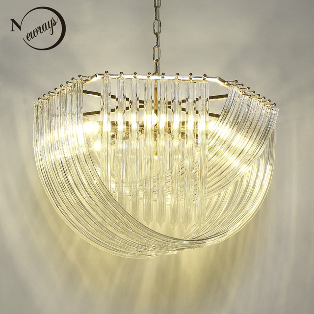 Retro Modern Golden Color Large American Style Glass Crystal Chandeliers E14 Re Lamp For Hardware