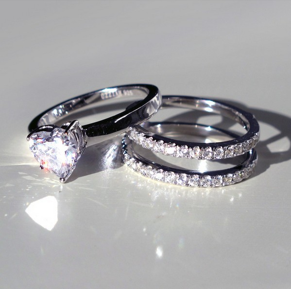 romantic 2ct heart shape wedding sets rings real 925 sterling silver ring bridal sets in rings from jewelry accessories on aliexpresscom alibaba group