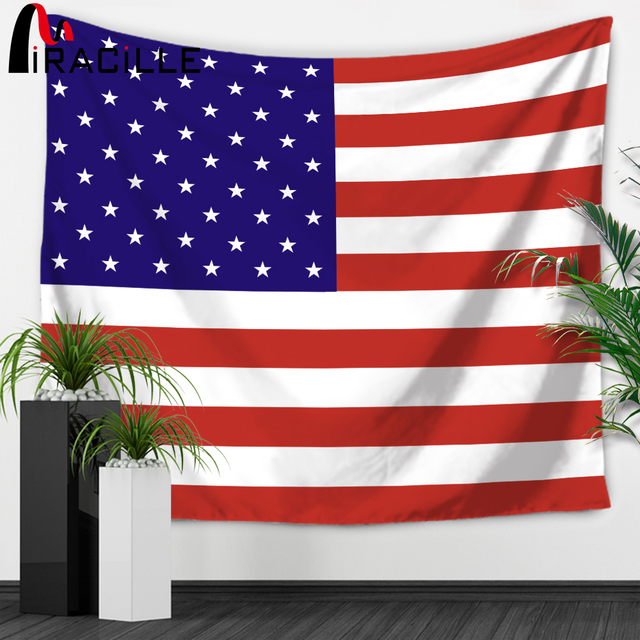 Miracille Stars And Stripes Usa Flag Tapestry Wall Hanging Country