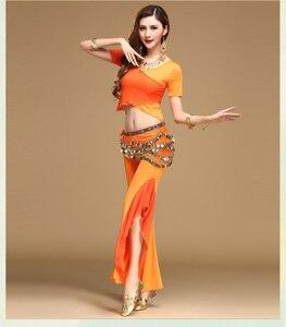 Image 5 - Qualità danza del ventre costume set di danza del ventre practice abbigliamento indiano set di garza set pantaloni set di blocchi di colore 8 colori Top & pantaloni e Cintura