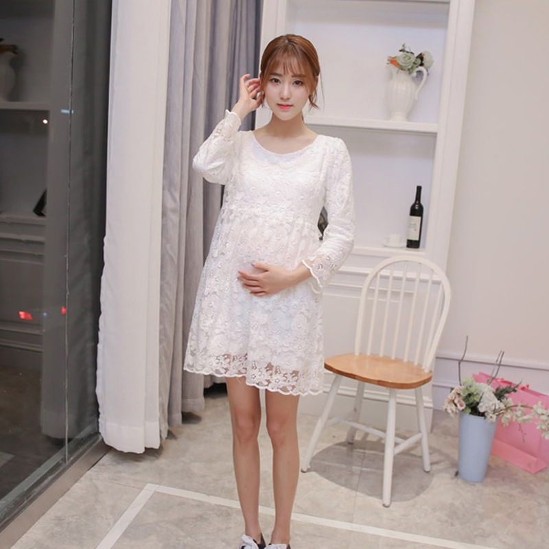 2017 Autumn spring New Pregnancy Clothes Pregnant Women Breastfeeding Dress Lace Maternity Maxi Dresses Robe De Grossesse