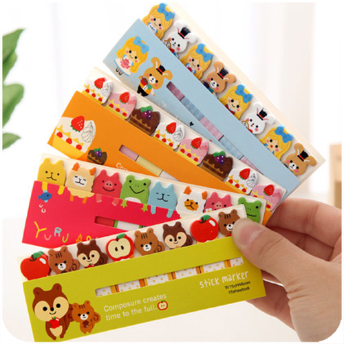 3pcs/lot Cartoon colorful memo pad Cute kawaii  stick Marker post it bookmarks notes Kawaii stationery office School Supplies