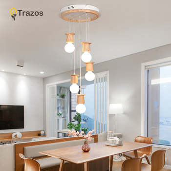 TRAZOS Nordic Japanese Modern Pendant Lights Creative Wooden Iron Dining Room Pendant Lamp Hanging Lights For Living Room E27