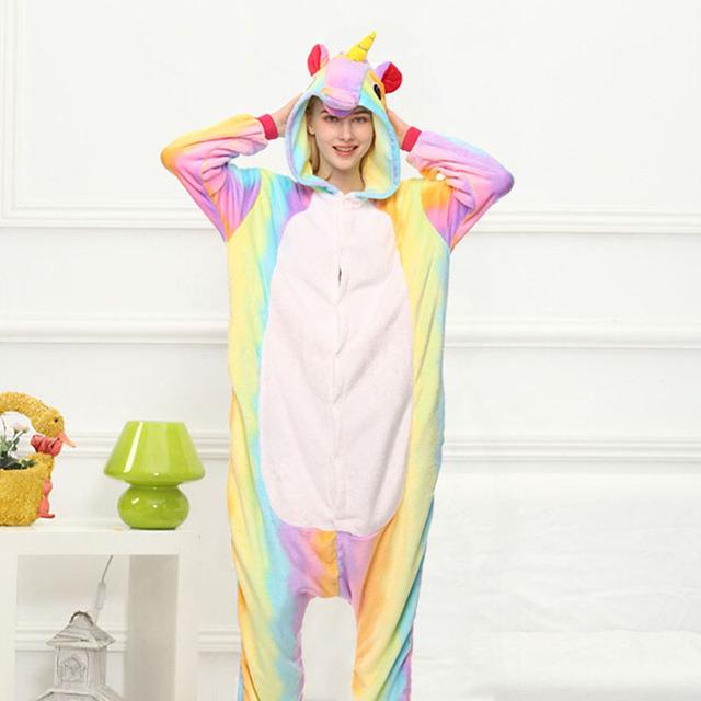Star Unicorn Kigurumi Onesie Costume Jumpsuit Soft Fancy Carnival Onepiece Animal Cosplay for Women Girl Adult Kid Home Wear