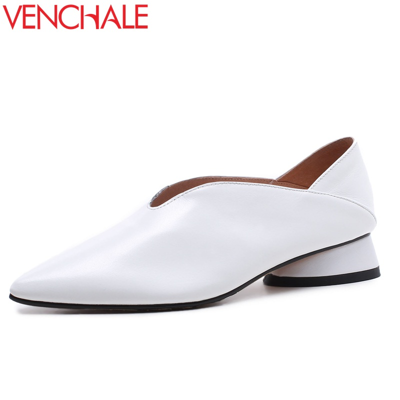 цена VENCHALE chaussures graceful curve design low heels pointed toe single shoes genuine leather footwear woman pumps big size