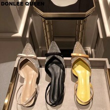 Rhinestone Sandals Clear Crystal Flat Heel Mule Shoes Women Slip On Slides Pointed Toe Shallow Casual Party Wedding Shoes Summer eyelet detail mule sandals