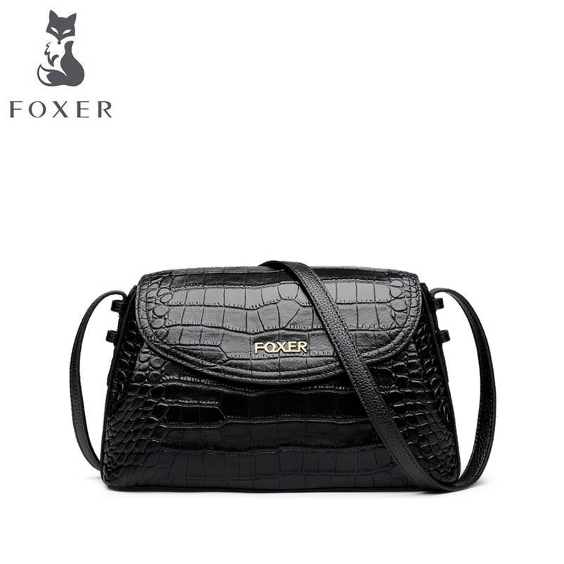 FOXER 2018 new brand women Genuine leather bag fashion crocodile grain women leather handbags crossbody bags for women bags foxer brand 2018 women leather crossbody bag