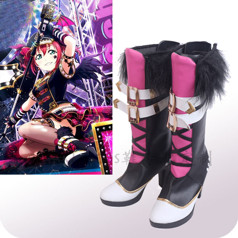 Love Live! Sunshine!! Aqours Ruby Kurosawa Punk Rock Cosplay Shoes Boots Halloween Carnival Cosplay Costume Accessories