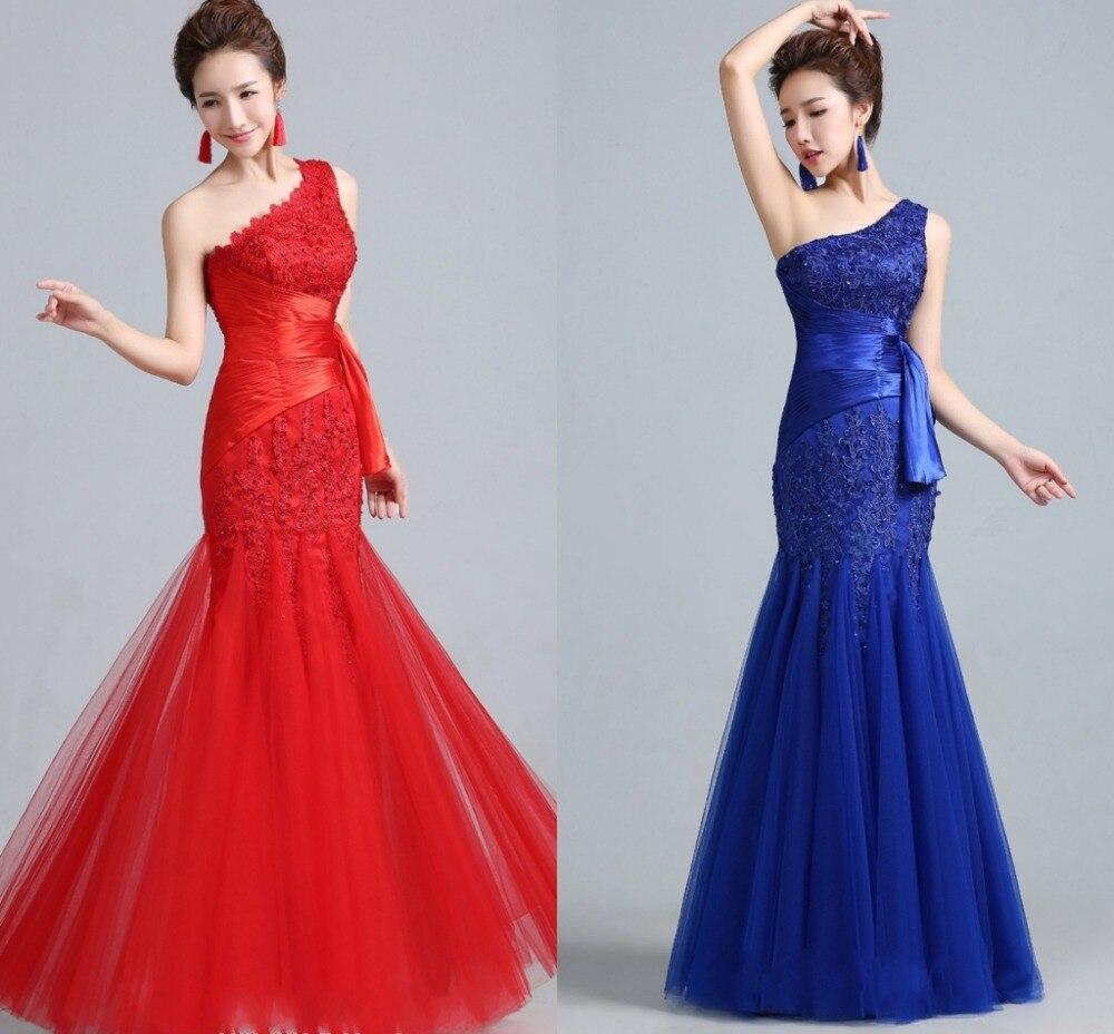 Une épaule Appliques pli bleu Royal/rouge robe de bal 2019 sirène longue robe de soirée formelle robes de soirée robe de sor