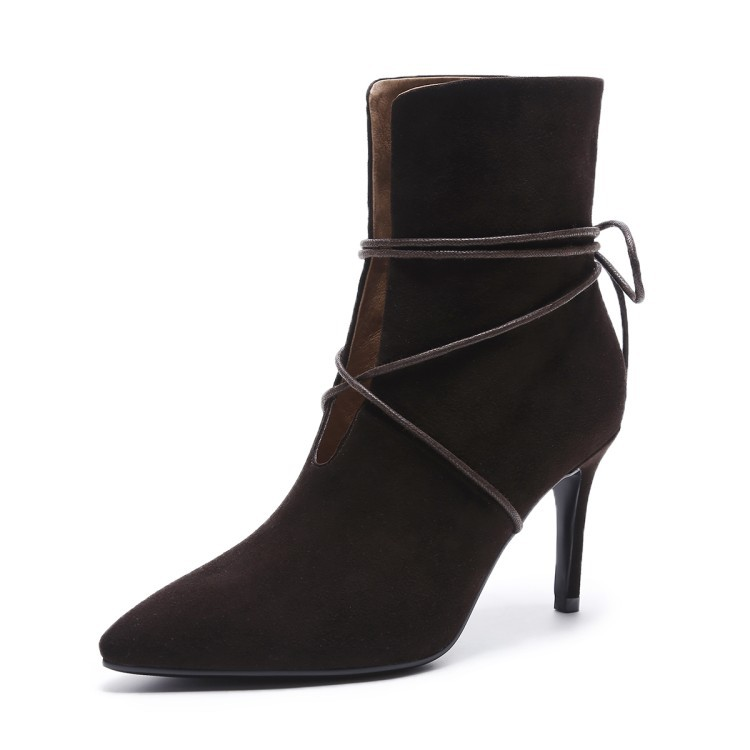 Women's Genuine Leather Pointed Toe High Heels Ankle Boots Strappy Suede Martin Boots Stiletto Pumps Sexy Dress Shoes Booties sexy women boots solid flock suede zip high heels boots lady stiletto pointed toe ankle boots martin boot red white black