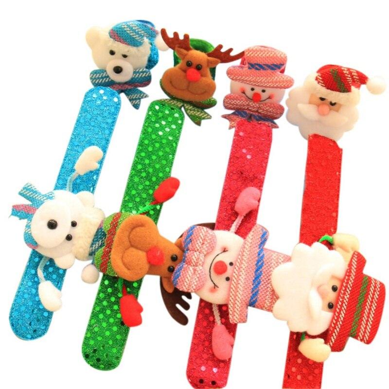 Merry Christmas Circle Hand Ring Children Gift Toys Toy Novelty Christmas Slap Bracelet Christmas Decor