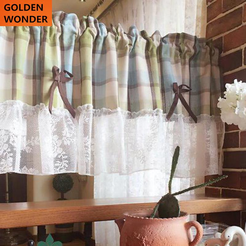 Country Style Short Door Curtain Kitchen Curtains Coffee Curtain Plaid And  Lace Cotton Material Cabinet Door Curtain Green