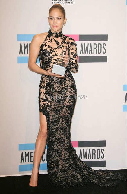 b5fea3883e65d US $169.0  Sexy High Neckline One Shoulder Long Sleeve Black Jennifer Lopez  Dress Mermaid Lace Celebrity Dress with Side Slit Evening Dress-in ...