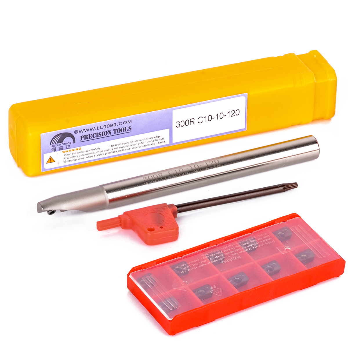 1pc BAP 300R C10-10-100 Tool Holder + 10pcs APMT1135PDER Carbide Inserts with Wrench For CNC Milling Tool