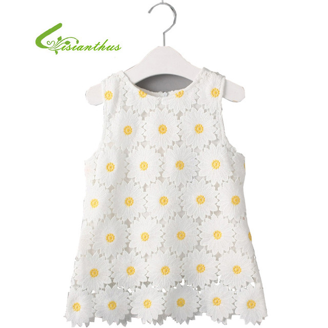 fab9174afb2f5 Girls Sunflower Dress Fashion Cute Dress Children Hollow Vest Dress Kids  Summer Clothing Sleeveless Sundress Free Drop shipping