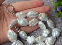 FREE SHIPPING>>> HOT3655 Natural White Reborn Keshi pearls necklace