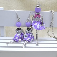 2017 nueva joyería étnica dressdoll pedante collar y aretes de moda de la muñeca dulce romántico clásico collar y aretes