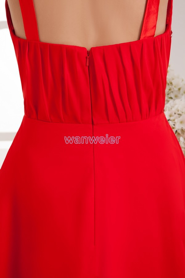 free shipping 2018 new high quality design unique classy strap beading sexy brides maid chiffon red bridesmaid dresses in Bridesmaid Dresses from Weddings Events