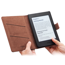Amazon Kindle leather cover Paperwhite Genuine Leather With 2 Card Slots Protective Flip Folio Case For Kindle Paperwhite