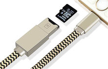External U Disk Data Charging Cable Silver 2 in 1 TF Micro SD card reader charging