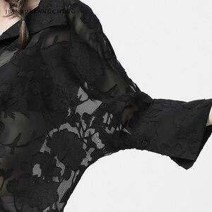 Image 5 - פרספקטיבה ארוך פרחוני חולצת רשת חולצה לנשים בתוספת גודל תורו למטה צווארון חולצות רפוי סקסי נשי קיץ חולצות