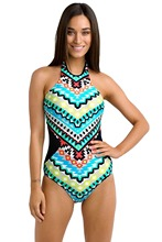 Adogirl High Neck One Piece Swimsuit New Women Monochrome Tribal Print Criss Cross Beachwear Plus Size XXL Swimwear