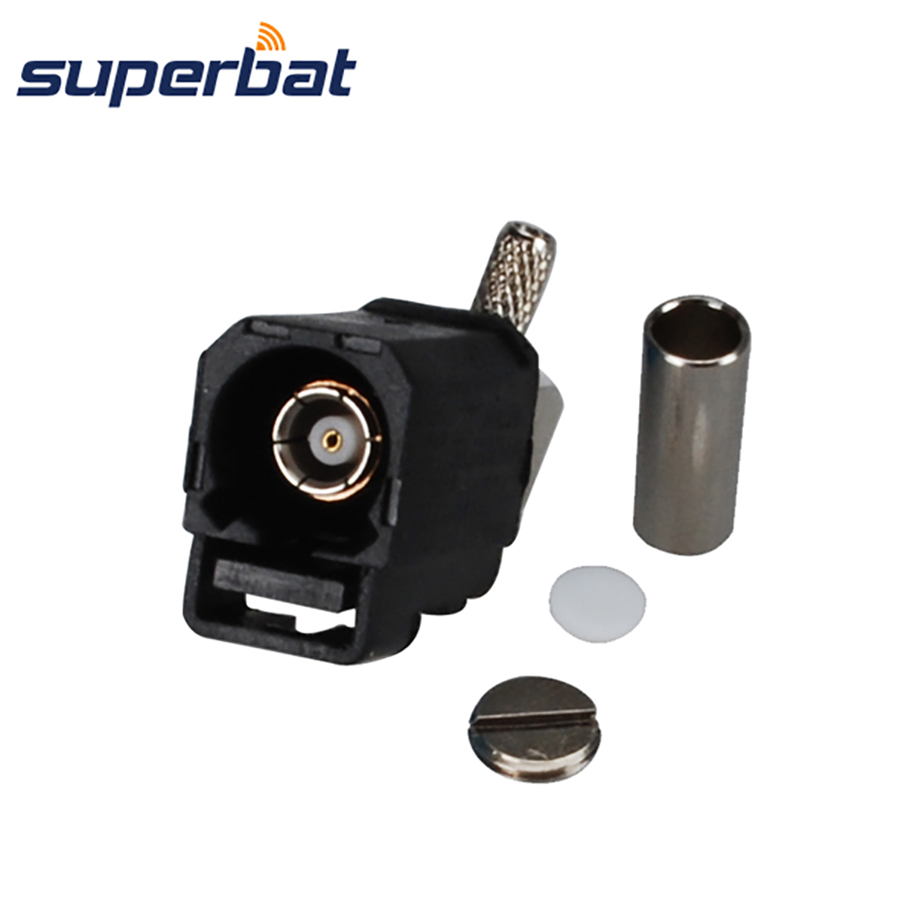 Superbat Fakra A Black /9005 Jack Female Right Angle Connector Radio Without Phantom Supply Crimp For Cable RG316 RG174 LMR100