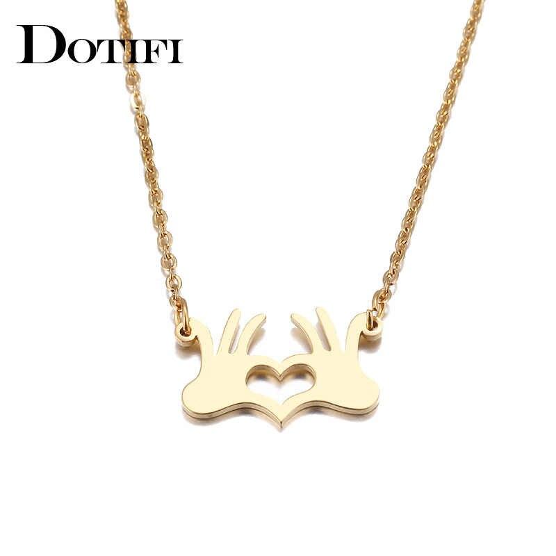 Collier en acier inoxydable DOTIFI pour femme couleur or et argent pendentif coeur palmier collier bijoux de fiançailles