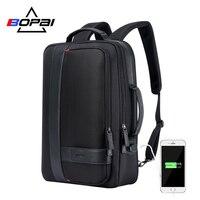BOPAI Brand Enlarge Backpack USB External Charge 15.6 Inch Laptop Backpack Shoulders Men Anti theft Waterproof Travel Backpack