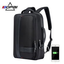 BOPAI Brand Enlarge Backpack USB External Charge 15.6 Inch Laptop Backpack  Shoulders Men Anti-theft Waterproof Travel Backpack bopai usb external charge enlarge anti theft laptop backpack for school multifunction laptop bag 15 6 inch men backpack travel